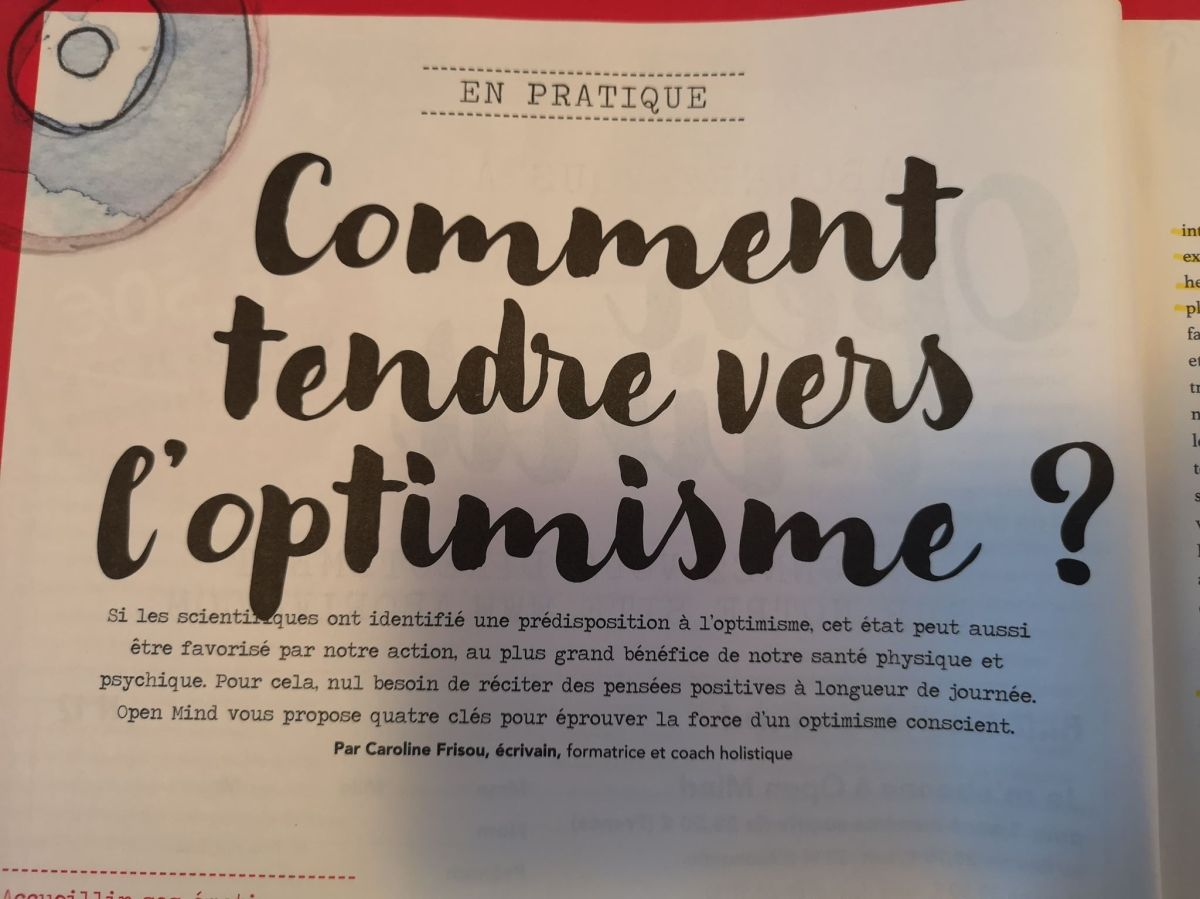 Comment tendre vers l'optimisme ? par Caroline Frisou